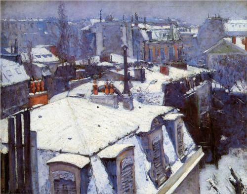 Rooftops Under Snow - Gustave Caillebotte