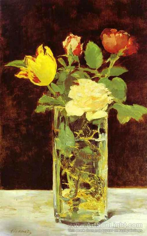 Roses and Tulips in a Vase - Edouard Manet