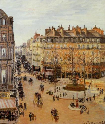 Rue Saint Honore, Sun Effect, Afternoon - Camille Pissarro