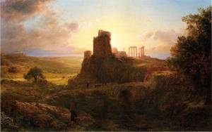Ruins at Sunion Greece - Frederic Edwin Church