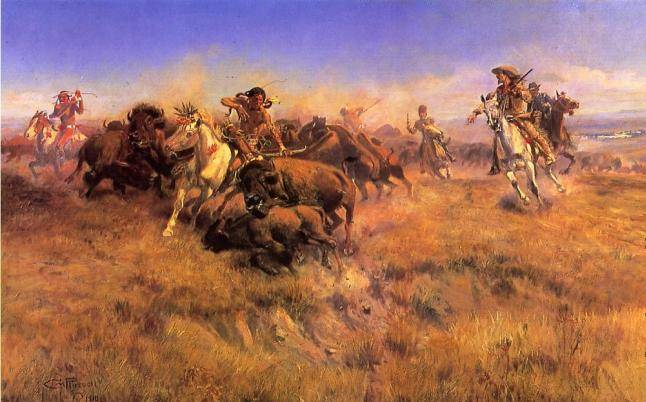 Running Buffalo - Charles Marion Russell