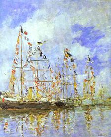 Sailing Ships at Deauville - Eugene Boudin