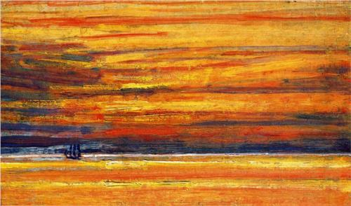Sailing Vessel at Sea, Sunset - Childe Hassam