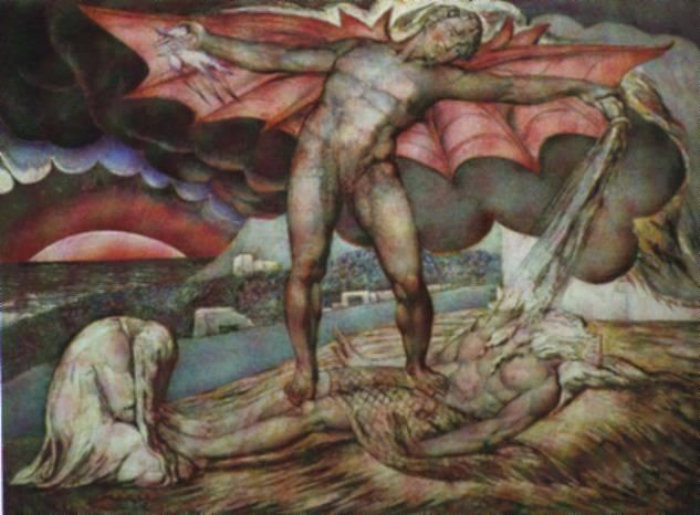 Satan Inflicting Boils on Job - William Blake - Oil ...