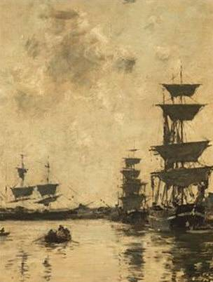Schooners at Anchor at Deauville - Eugene Boudin