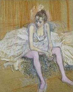Seated Dancer with Pink Stockings - Henri de Toulouse Lautrec