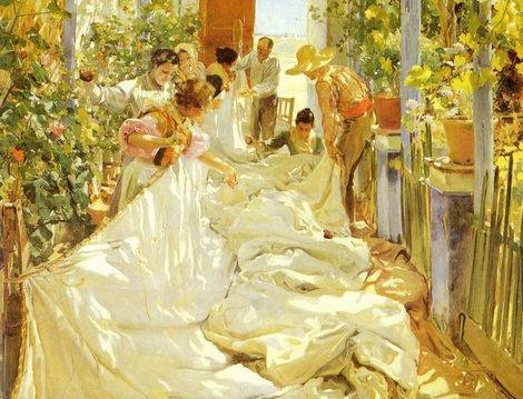 Sewing the Sail - Joaquin Sorolla