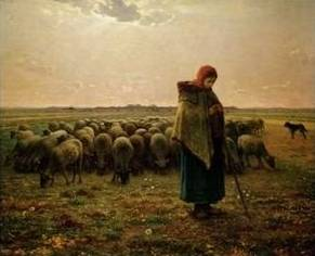 Shepherdess with Her Flock - Jean Francois Millet
