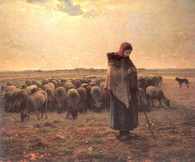 Shepherdess with Her Flock - Jean Francios Millet
