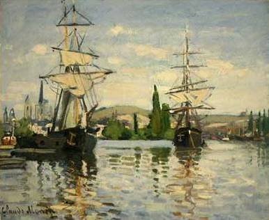 Ships Riding on the Seine at Rouen - Claude Monet