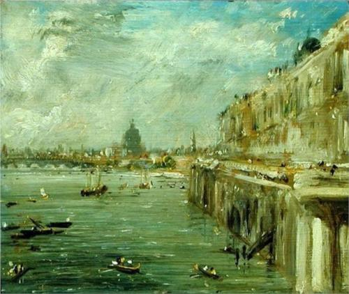 Somerset House Terrace and the Thames with Waterloo Bridge - John Constable