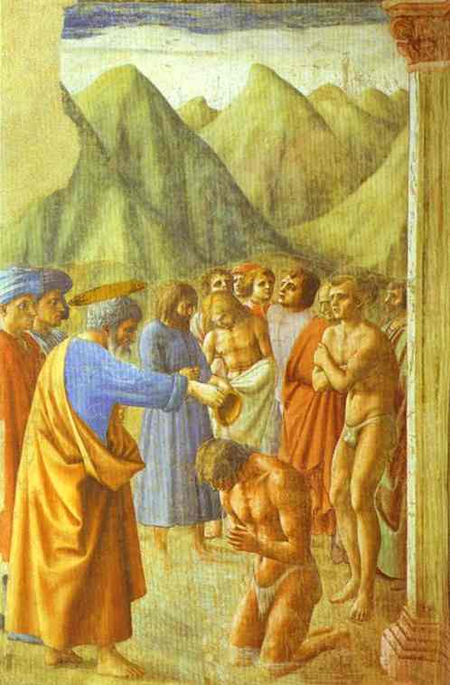 St. Peter Baptizing the Neophytes - Masaccio