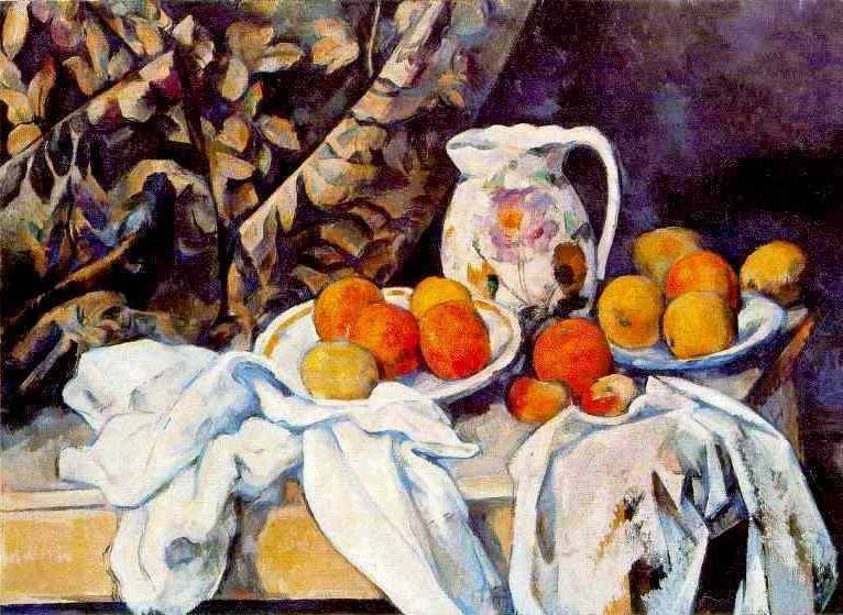 Still Life with Curtain and Picture - Paul Cezanne