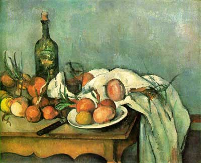Still Life with Onions & Bottle - Paul Cezanne