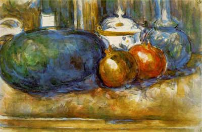 Still Life with Watermelon & Pomegranates - Paul Cezanne