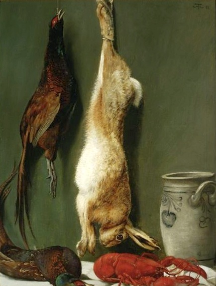 Still life with a Hare, Pheasants and a Lobster - Hans Thoma