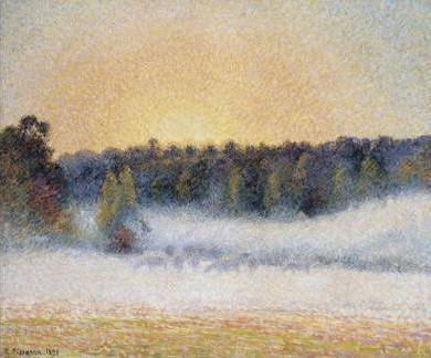 Sunset and Fog, Eragny - Camille Pissarro