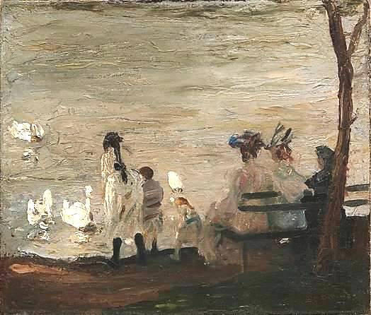 Swans in Central Park - George Bellows