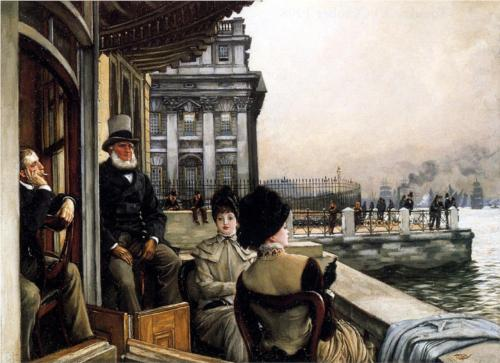 Terrace of the Trafalgar Tavern, Greenwich, London - James Tissot