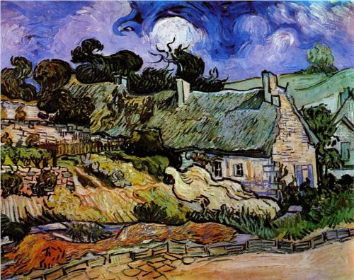 Thatched Cottages at Cordeville - Vincent Van Gogh