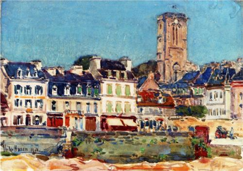 The Quai, Lannion - Childe Hassam