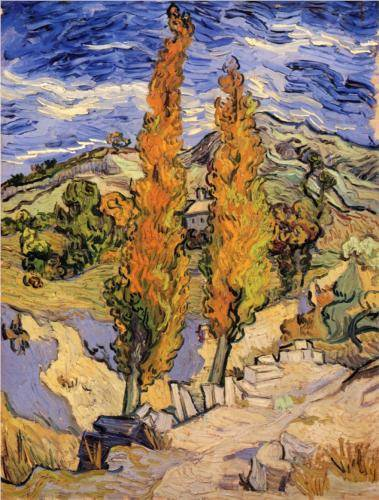 Two Poplars on a Hill - Vincent Van Gogh