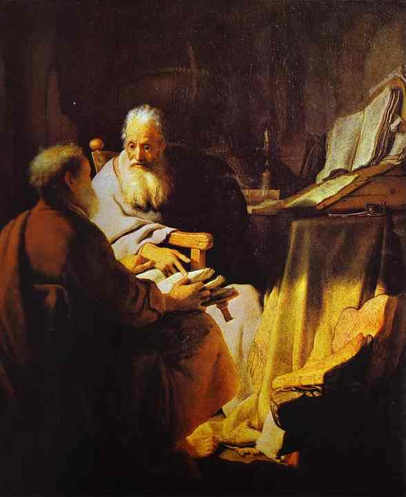 Two Scholars Disputing (Peter and Paul) - Rembrandt van Rijn