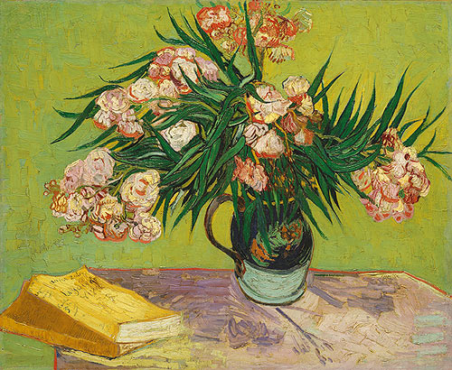 Vase with Oleanders and Books - Vincent Van Gogh