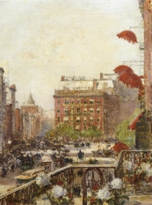 View of Broadway and Fifth Avenue - Childe Hassam