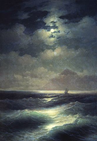 View of the Sea by Moonlight - Ivan Aivazovsky