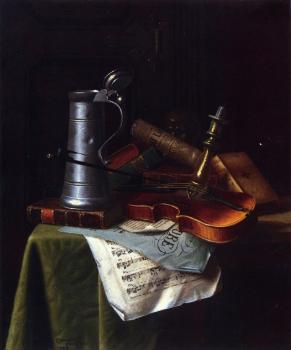 Violin, Pewter Tankard and Sheet Music - William Harnett