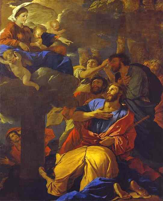 Virgin of the Pillar Appearing to St. James the Greater - Nicolas Poussin