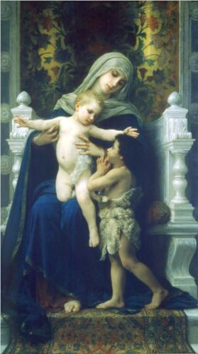Virgin, Jesus and Saint John Baptist - William Adolphe Bouguereau