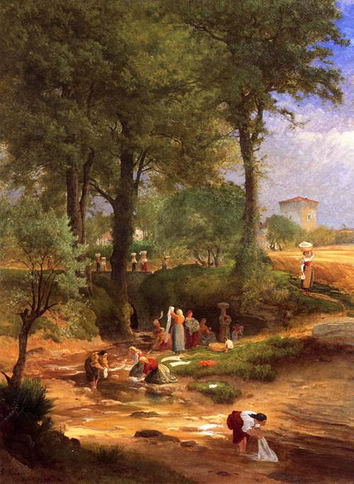 Washing Day near Perugia (Italian Washerwomen) - George Inness