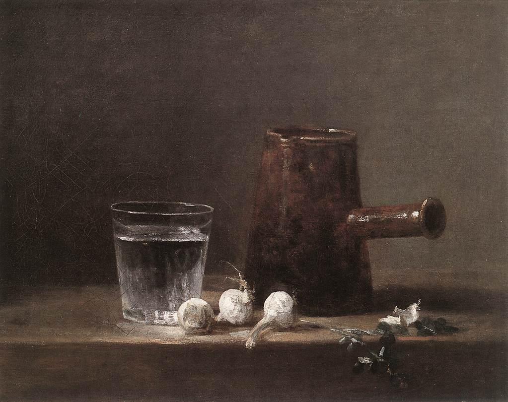 Bodegón de Chardin, utilizado para la entrada la evolución del bodegón realizada para la academia de dibujo y pintura Artistas6 de Madrid.