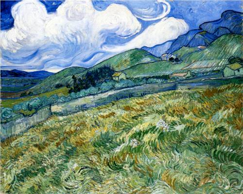 Wheatfield and Mountains - Vincent Van Gogh