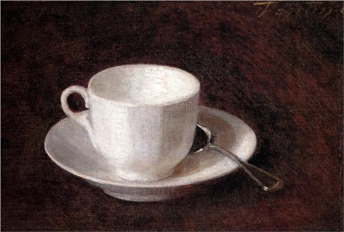 White Cup and Saucer - Henri Fantin-Latour
