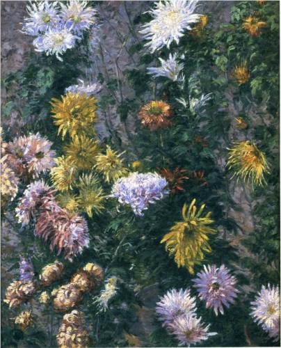 White and Yellow Chrysanthemums - Gustave Caillebotte