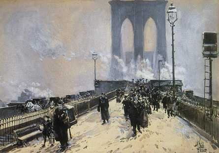 Winter Day on Brooklyn Bridge - Childe Hassam