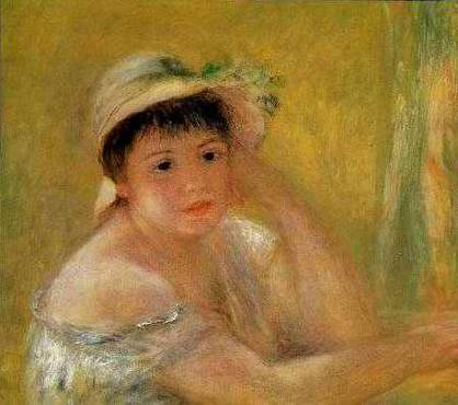 Woman Dressed in Blue - Pierre Auguste Renoir