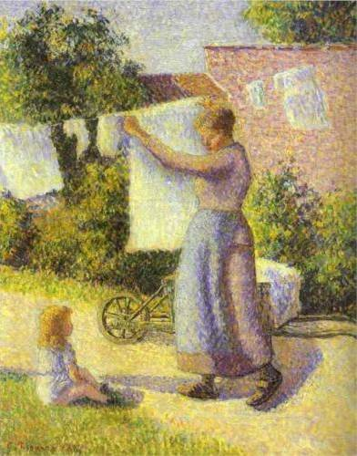 Woman Hanging Her Laundry - Camille Pissarro