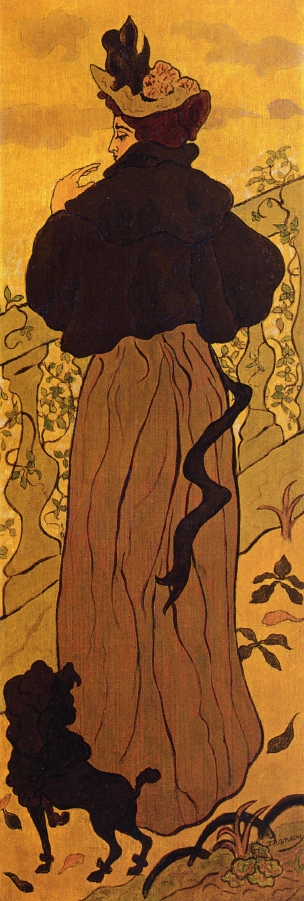 Woman Standing at a Balustrade with a Poodle - Paul Ranson
