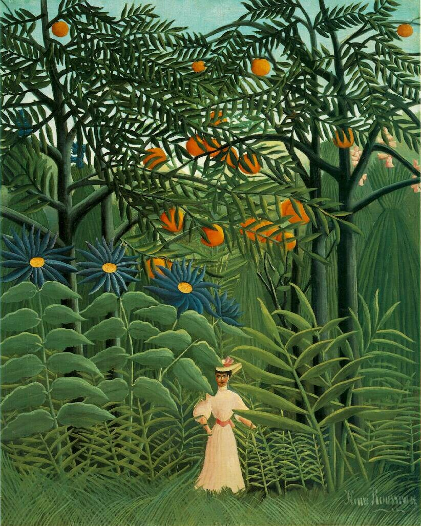 Woman Walking in Exotic Forest - Henri Rousseau