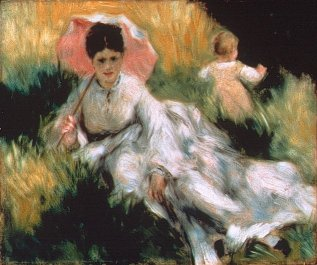 Woman and Child in the Meadow - Pierre Auguste Renoir