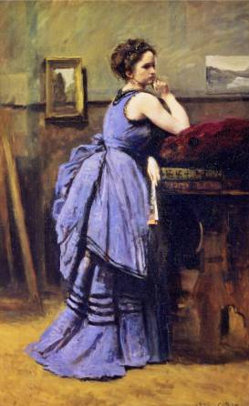 Woman in Blue - Jean Baptiste Camille Corot