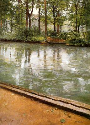 Yerres Riverbank in the Rain - Gustave Caillebotte