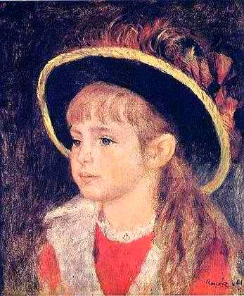 Young Girl in a Blue Hat - Pierre Auguste Renoir