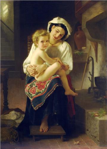 Young Mother Gazing at Her Child - William Adolphe Bouguereau