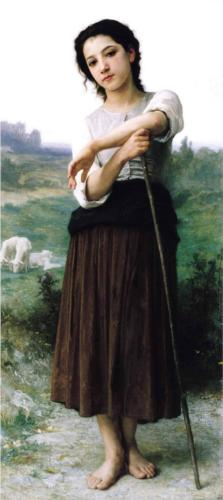 Young Shepherdess Standing - William Adolphe Bouguereau