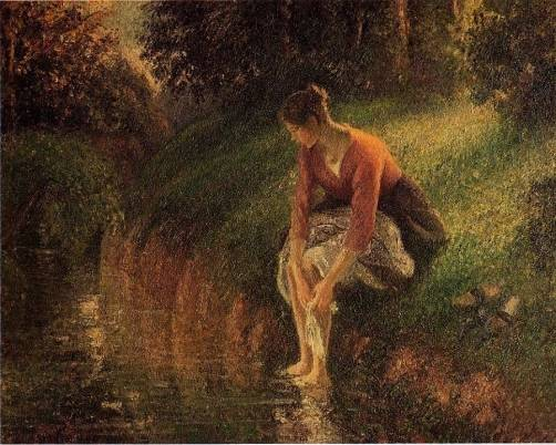 Young Woman Bathing Her Feet - Camille Pissarro